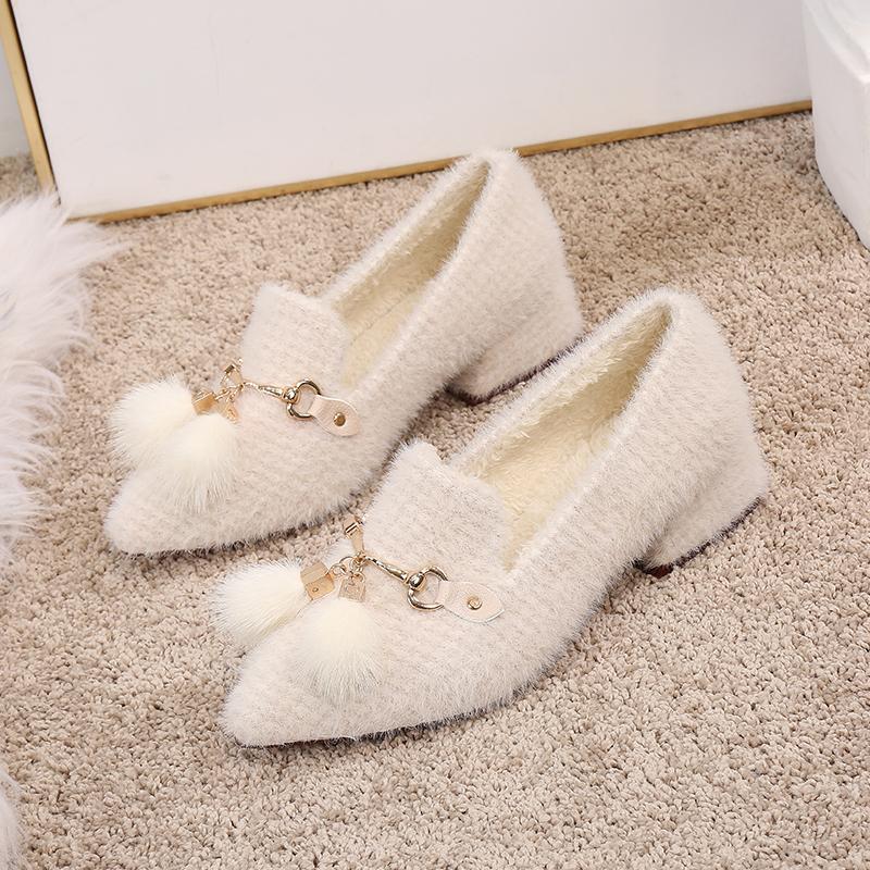 毛毛鞋外穿2019秋冬新款粗跟百搭晚晚鞋仙女温柔中跟加绒棉瓢鞋女