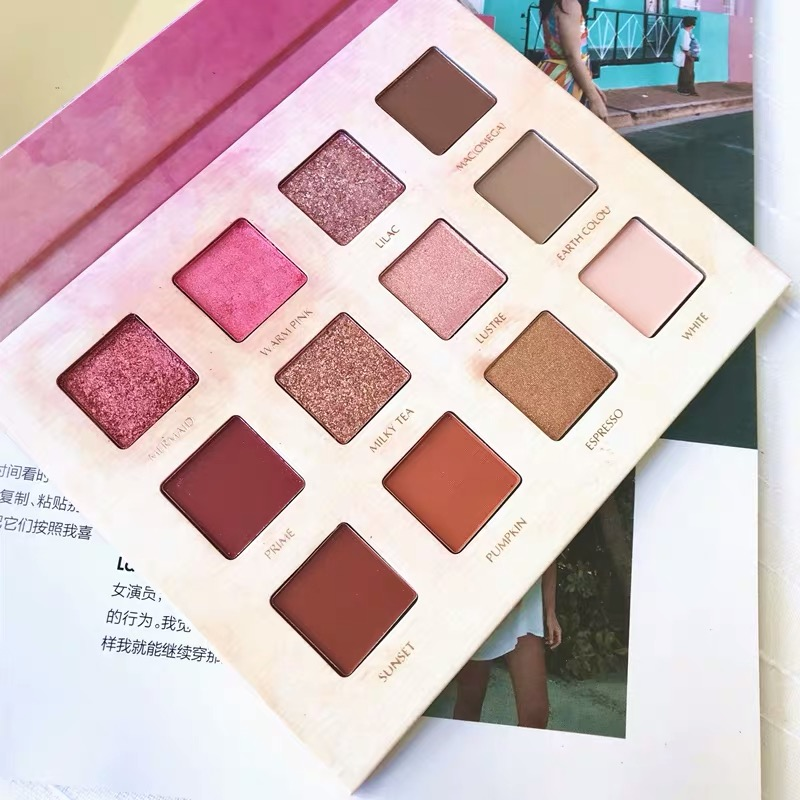 Green Xiao Ni with the 12 color eye shadow plate with brush.