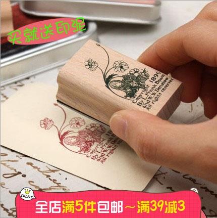 韩国创意文具铁盒装复古木质印章手帐本相册装饰爱丽丝桃乐丝 8款