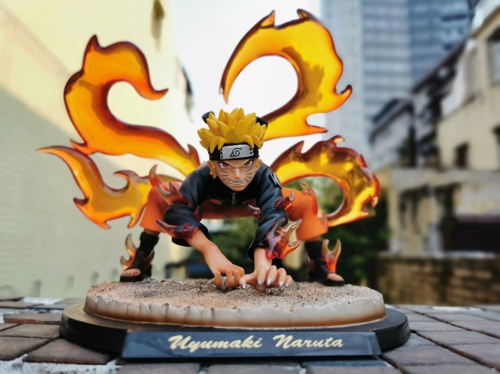 Fire shadow Pt four tailed GK immortal model Nine Tailed demon fox Naruto doll statue hand-made model