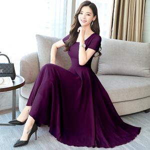 实拍8353#2018夏装新款韩版长款大摆雪纺连衣裙时尚收腰气质裙女
