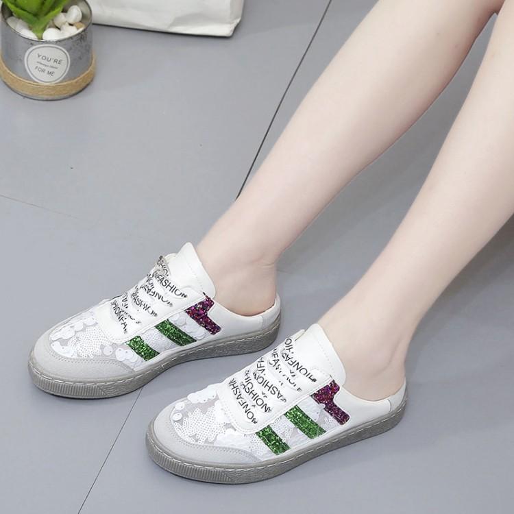 包头半拖鞋女夏季时尚外穿2020新款韩版无后跟懒人鞋平底网面透气