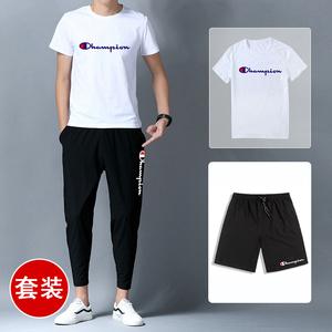 两件套装男士短袖T恤2019夏季新款潮流韩版休闲帅气半袖衣服男装