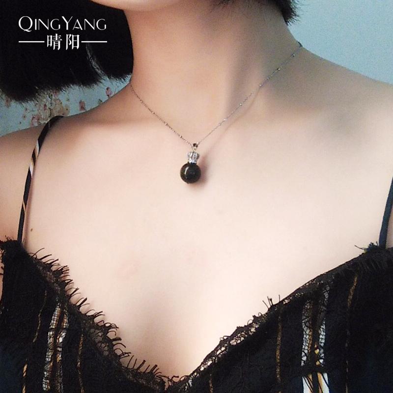 晴阳珠宝925银项链天然草莓晶吊坠锁骨链原创简约情人节生日礼物