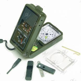 多功能 湿度计 温度计 口哨 LED手电 取火棒 指南针 指北针工具盒