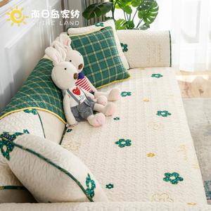 四季通用沙发垫田园小清新全包纯棉防滑巾北欧简约ins风沙发套罩