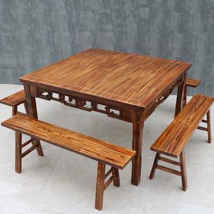 实木八仙桌复古正方形中式仿古四方桌餐椅桌饭店桌椅组合饭桌家用