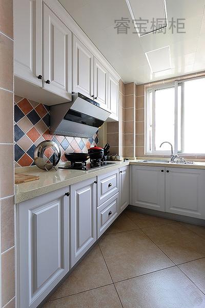 定做整体橱柜简约现代风格吸塑模压门厨房整体厨柜石英石台面定做