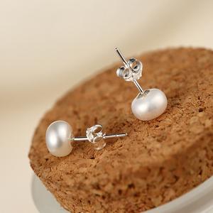s925纯银天然淡水珍珠耳钉扁圆韩国女可爱银饰品耳饰品气质耳环