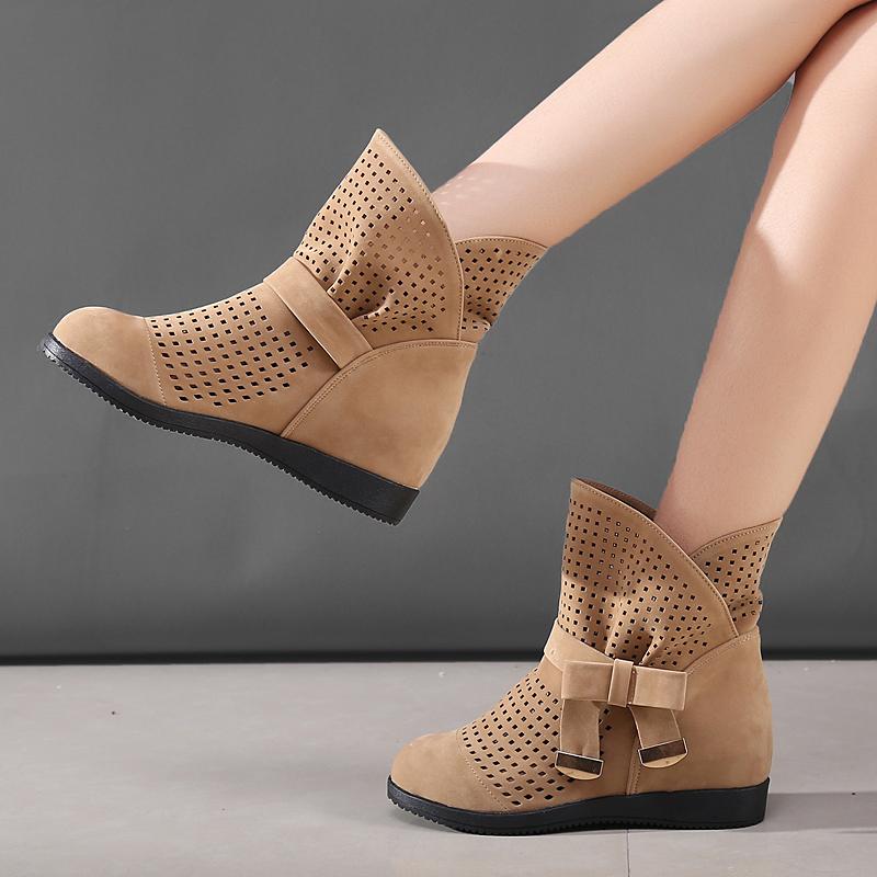 2018新款透气镂空马丁靴英伦风内增高靴夏季女短靴夏天平底靴子春