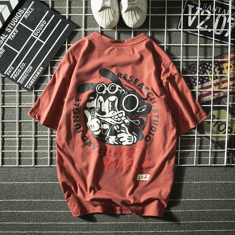 美式夏季新款国潮嘻哈卡通印花短袖T恤男士潮牌日系ins半袖打底衫满110.00元可用52元优惠券