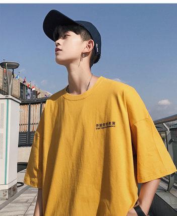 夏季黄色短袖韩版宽松衣服情侣t恤