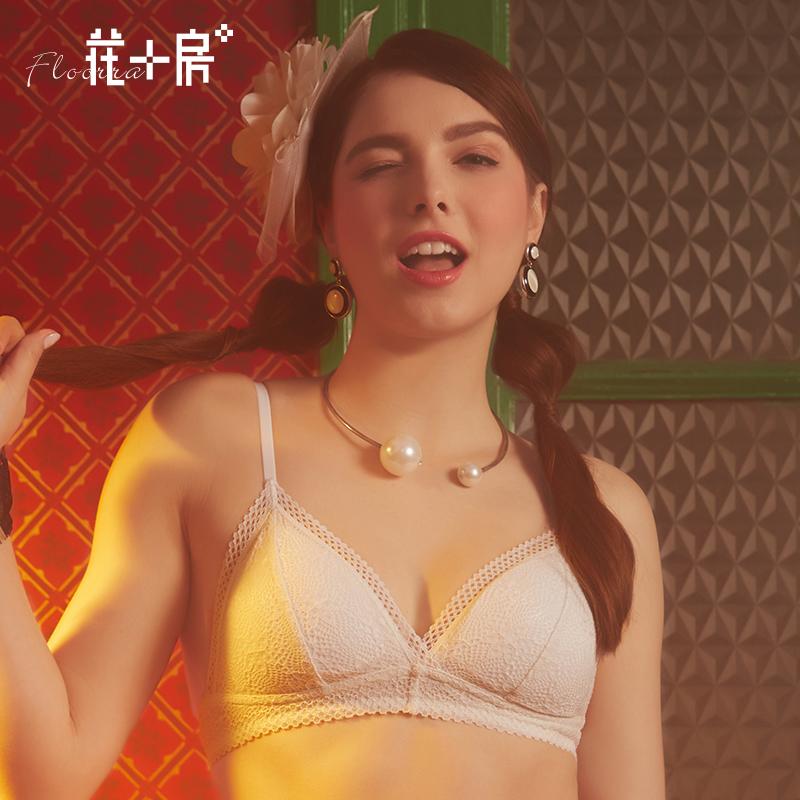 花房 夏季无钢圈蕾丝少女文胸 薄款小胸学生女士不空杯内衣186