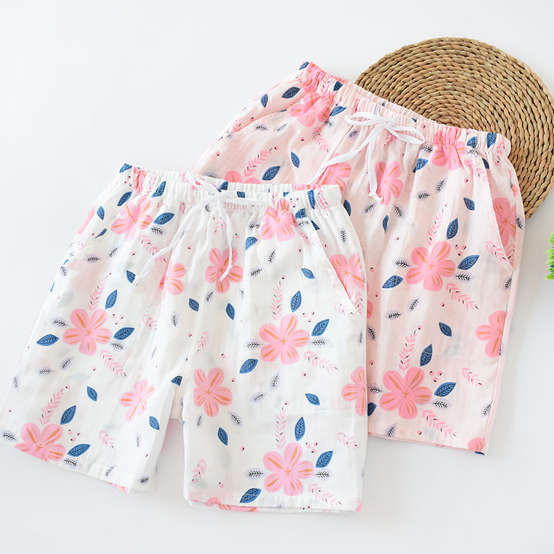 Womens pure cotton gauze summer thin cotton three part pajamas lovely beach casual and comfortable large size