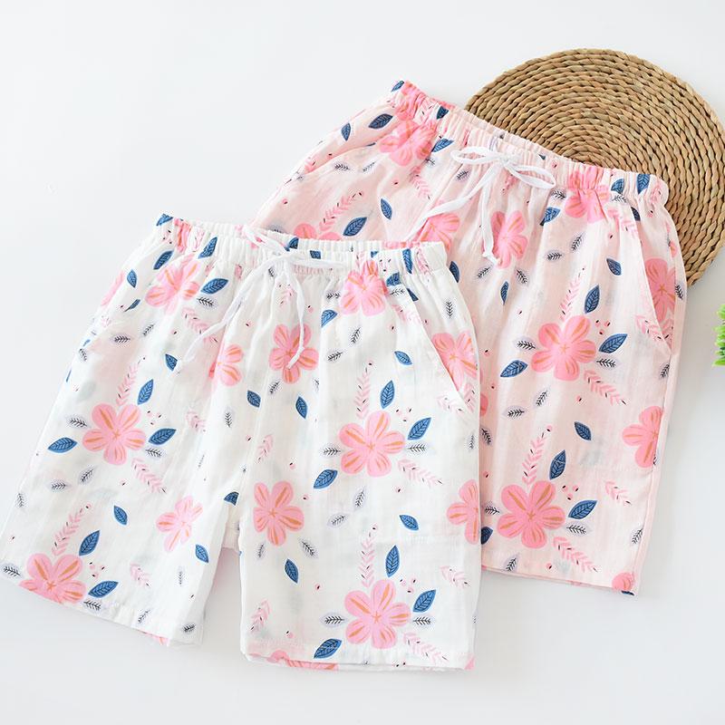 女士纯棉纱布夏季薄款全棉三分睡裤可爱沙滩休闲宽松透气舒适大码
