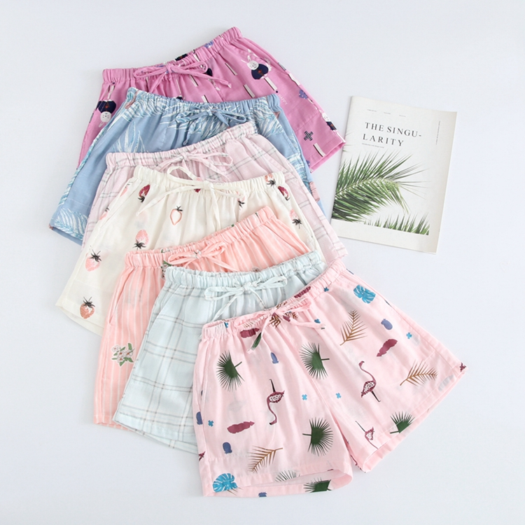 Womens summer gauze shorts, home pants, all cotton thin 3 / 4 beach pants, casual lovely thin pajamas, soft students