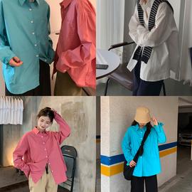 芝士兔自制 秋韩版纯色简约宽松长袖百搭单排扣显白衬衫女衬衣