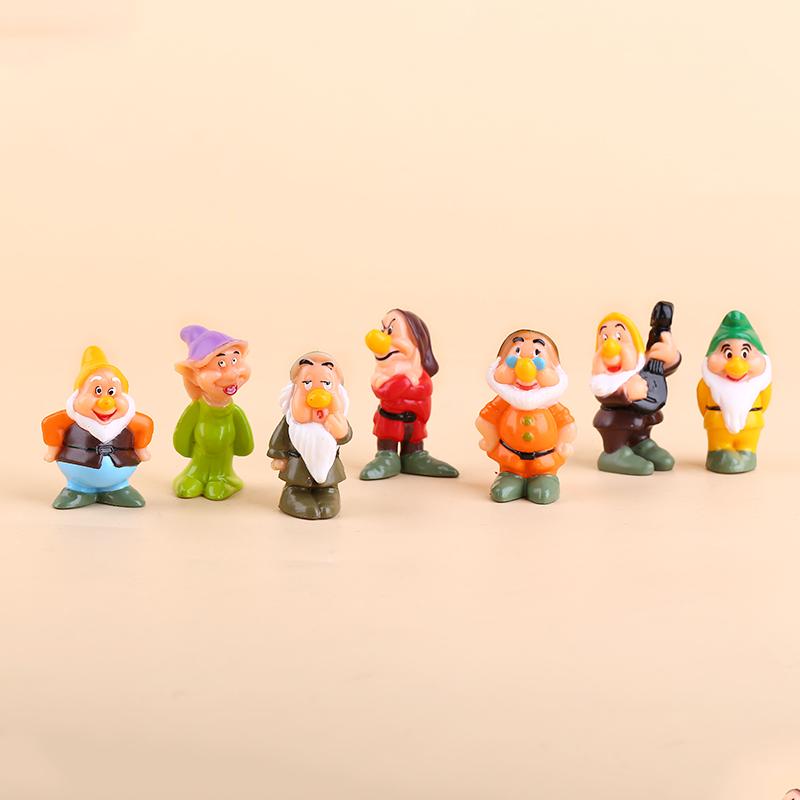 白雪公主公仔摆件和七个小矮人 情景蛋糕装饰 树脂摆件生日礼物
