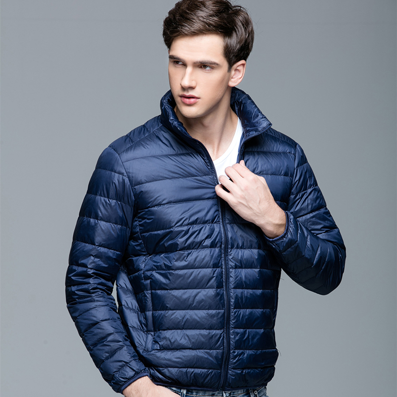 Autumn and winter 2019 new stand collar hooded ultra light down jacket mens short large slim light down jacket