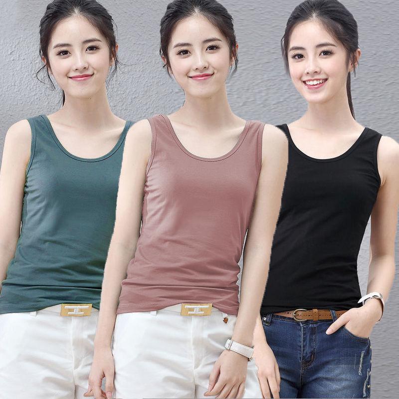 S-4XL大码夏季背心内衣女士吊带修身打底衫韩版内搭外穿无袖上衣