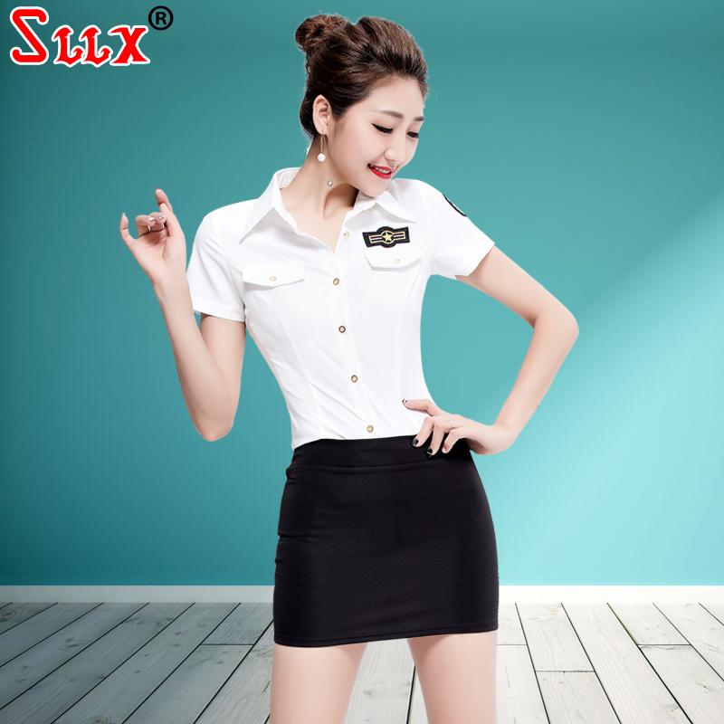 性感白衬衫V领衬衣套装职业女装酒店工作服小姐服装缩腰短裙气质