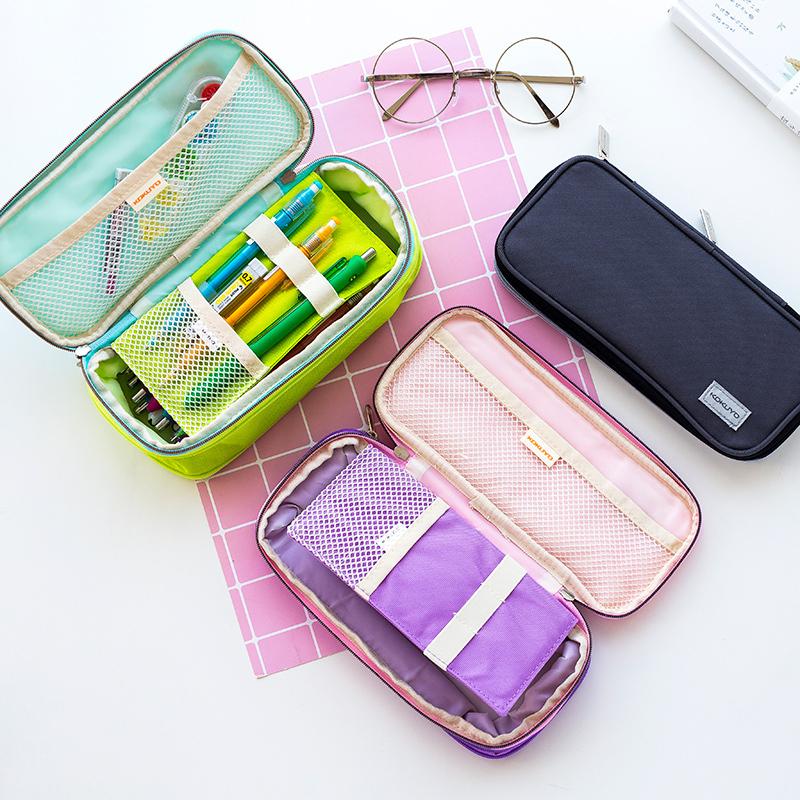 日本KOKUYO国誉淡彩曲奇笔袋可扩展大容量男女生文具盒韩国风小清新简约可爱小学生初中生高中双层笔袋少女心