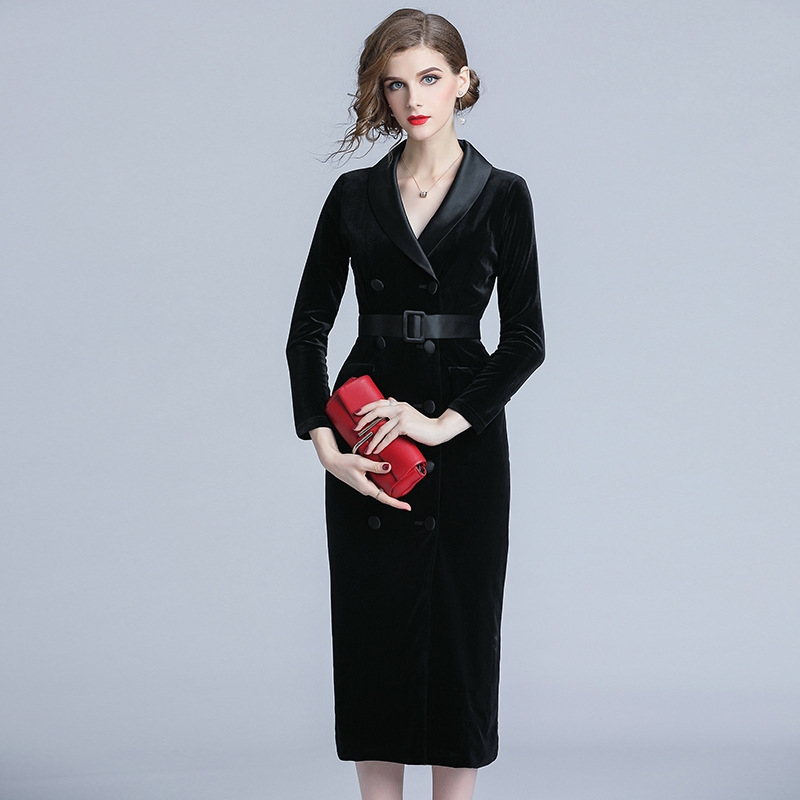 2021 womens autumn and winter new celebrity fashion V-neck contrast splicing double breasted lace up Pencil Dress