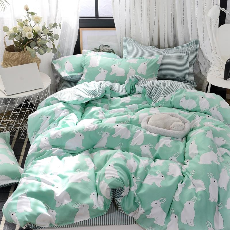 床上用品四件套全棉纯棉床单被套2米双人1.5m单人学生宿舍三件套4