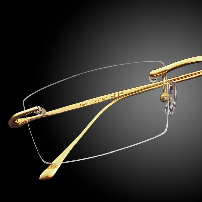 24 K金フレームなしメガネフレーム男性用純チタンメガネフレームビジネス快適超軽量ゴールドの近視メガネ