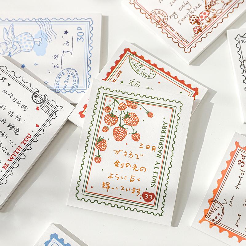 蘑菇植物盐系复古便利贴N次贴手帐diy装饰备忘留言旧梦邮票便签纸