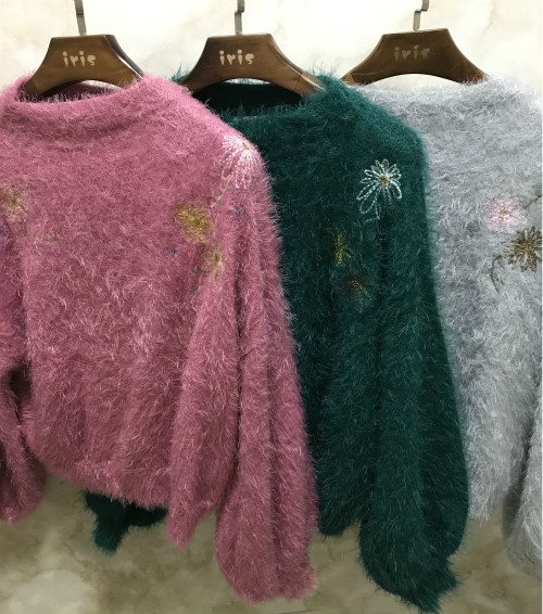 Japanese girl sweetheart pie shoulder Embroidered Beaded feather yarn Lantern Sleeve Sweater