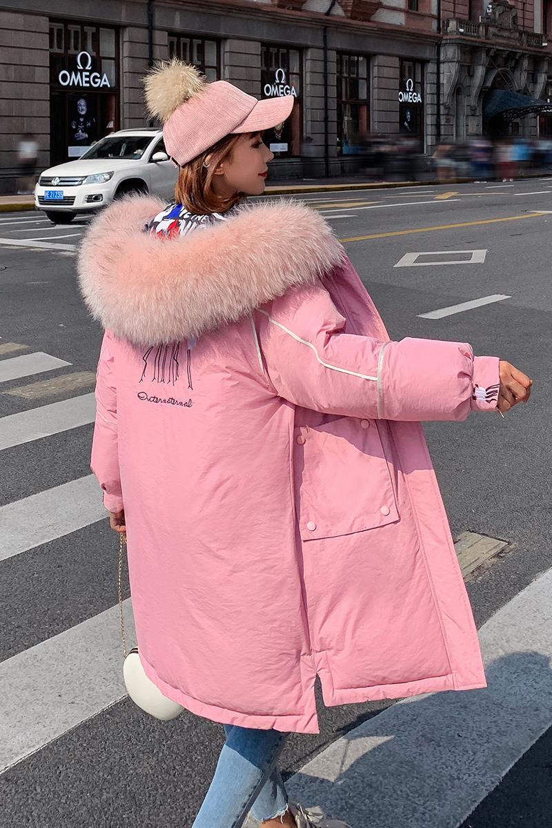 實拍2019冬季新款羽絨服中長款兩面穿仙鶴女寬松版大毛領加厚棉服