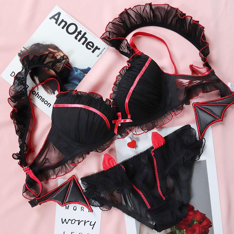 日系套装女性感甜美可爱小恶魔内裤满58元可用5元优惠券