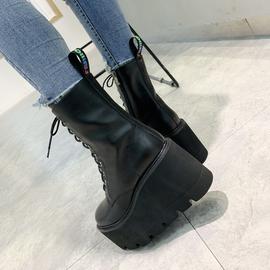 欧洲站2020秋冬新款真皮系带马丁靴欧美风潮松糕厚底坡跟工装女靴
