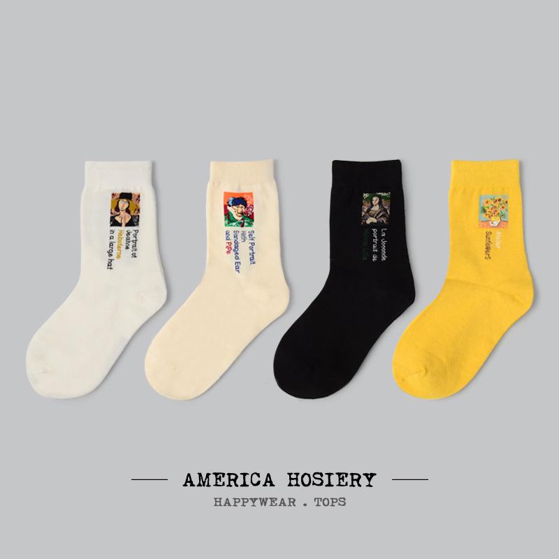 4双包邮 夏季薄袜子女中短筒袜潮韩国学院风日系复古百搭个性纯棉