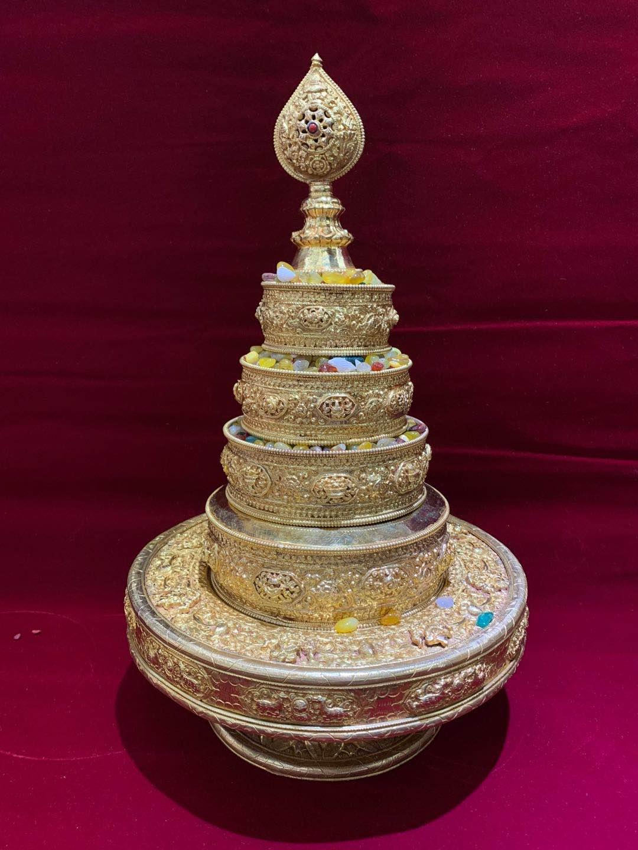 智悲佛缘 尼泊尔紫铜鎏金曼扎15厘米托盘25 曼达盘 曼茶罗 包邮 Изображение 1