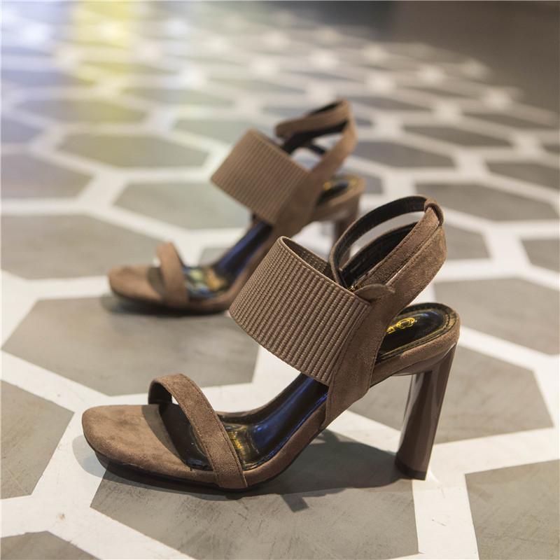 European station fashion brand high heel sandals suede open toe elastic belt buckle THICK HEEL SANDALS