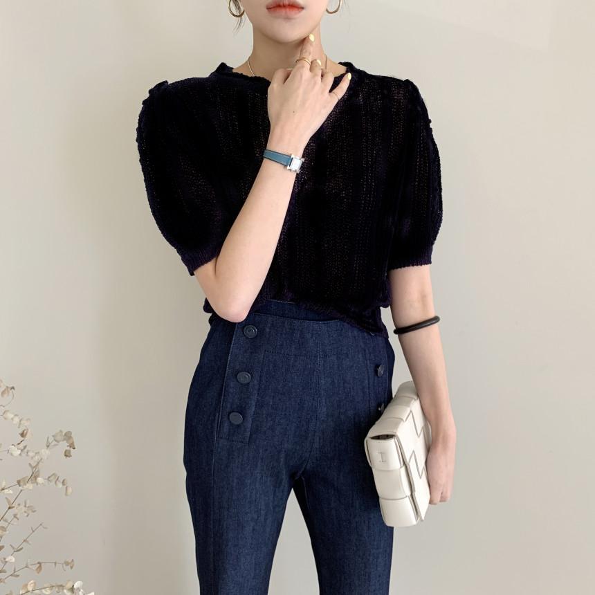 夏季修身显瘦短袖t恤女ins泡泡袖立体条纹重工薄款镂空衫女衫上衣