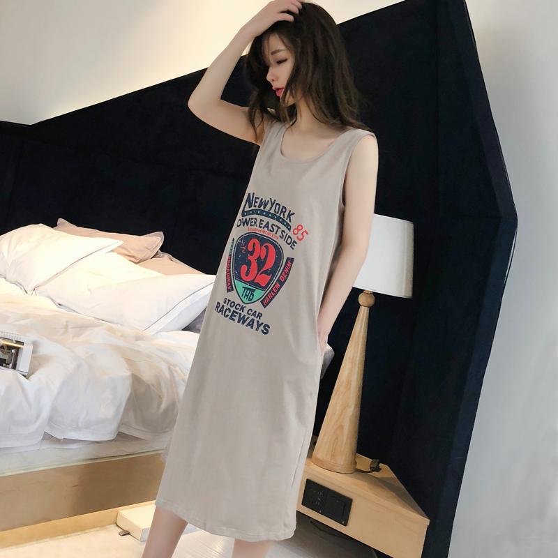 夏季性感纯棉女士睡衣无袖吊带卡通可爱中长睡裙全棉可外穿家居服图片