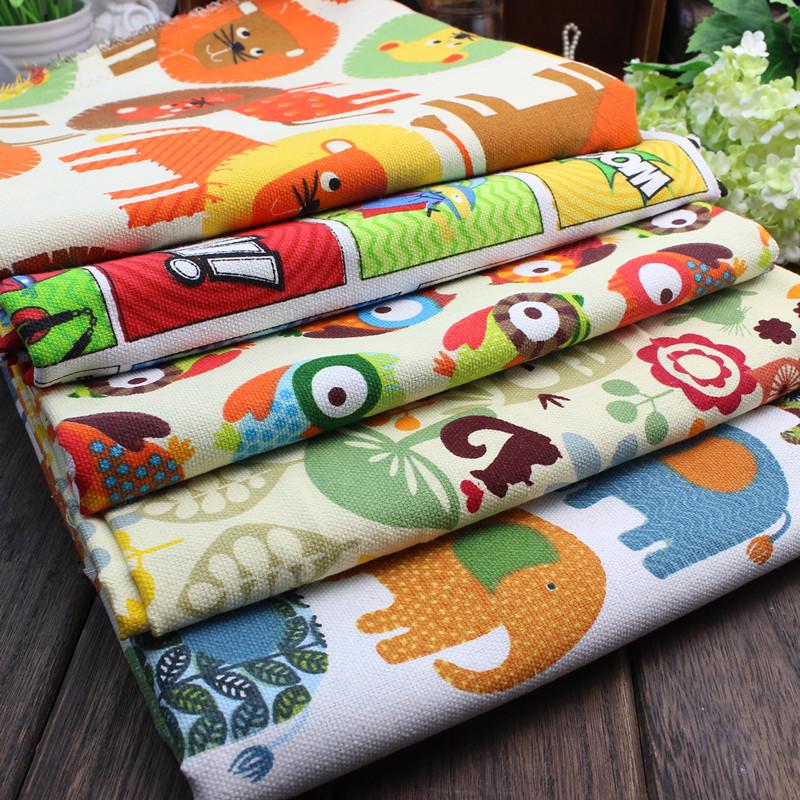 Холст хлопок материал старый грубый ткань животное мультики печать ткань диван скатерть занавес детский сад ручной работы ткань