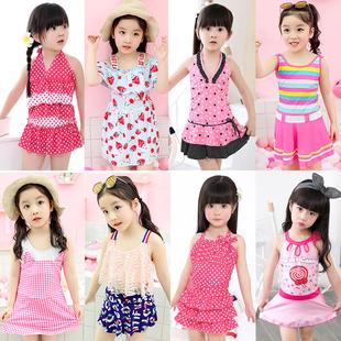 包邮 儿童泳衣韩国裙式 女孩中大童连体游泳衣 女童分体儿童泳装 正品
