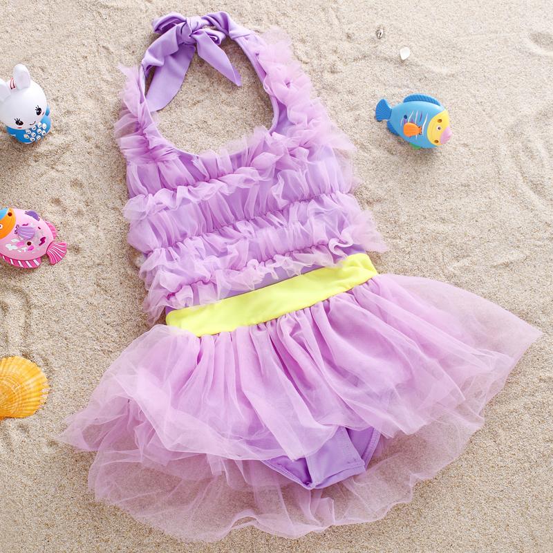 兒童游泳衣女孩可愛連體泳裝分體比基尼公主蕾絲裙大中小女童泳衣