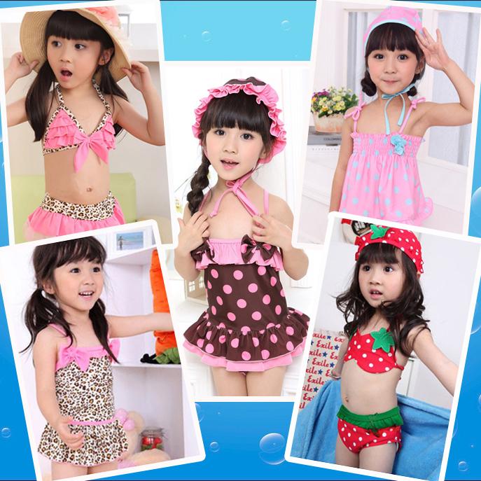 包郵兒童泳衣 寶寶女童游泳衣 裙式連體分體比基尼 配泳帽0-10歲