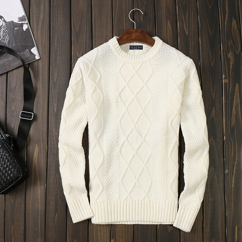 Winter mens thickened slim T-neck sweater pure white thin fashion woolen sweater Pullover knitwear