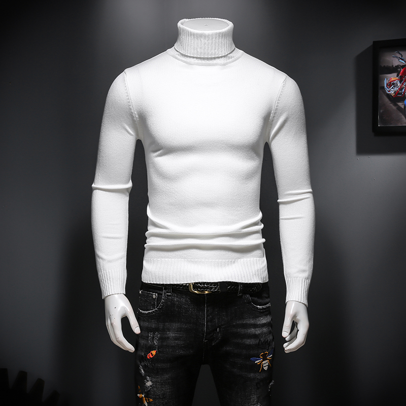 Winter mens high neck pure white cardigan Korean slim warm sweater casual bottoming sweater