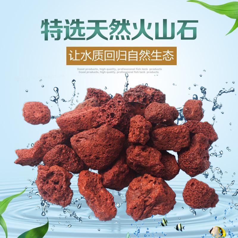 罗汉鱼专用红色天然火山石鱼缸铺底净水大块造景水族滤材红火山岩