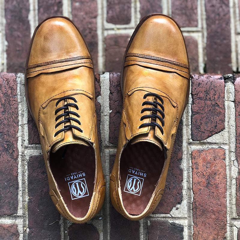 惬意舒适 复古真皮欧美低帮皮鞋牛筋底休闲鞋手工做旧软底工装鞋