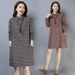 长袖连衣裙2021春季女装韩版大码宽松格子纯棉中长款休闲衬衫裙子