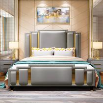 米北歐簡約真皮婚床1.8網紅床分手吵架主臥ins現代輕奢床美式