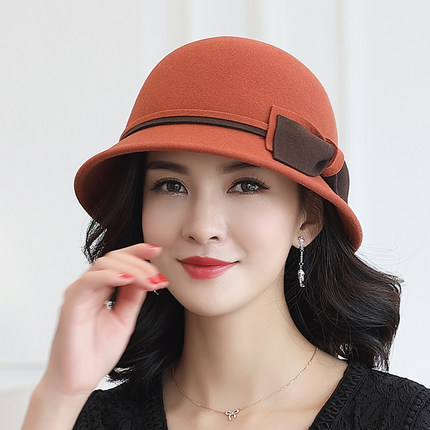 Buta wool hat autumn and winter new top hat bow fashion styling hat pure wool hat pt0816